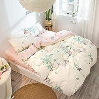 ASdf 漫画のピンクの寝具セット4pcs幾何学模様ベッドのライニング羽毛布団カバーベッドシートピローケースカバーセット (サイズ さいず : I)