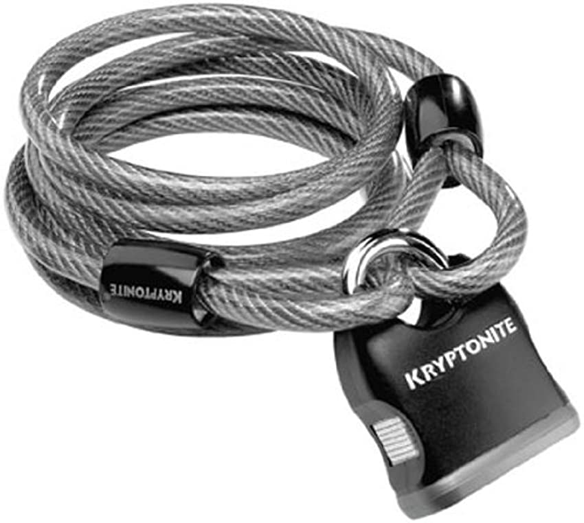 一族免除リクルートKryptonite KryptoFlex 818 Looped Cable and Key Padlock - Black by Kryptonite