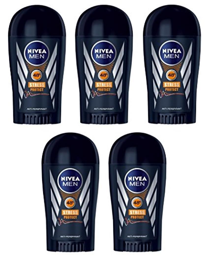 セブン気分対処する(Pack of 5) Nivea Stress Protect Anti-perspirant Deodorant Solid Stick for Men 5x40ml - (5パック) ニベア応力プロテクト制汗剤デオドラントスティック...