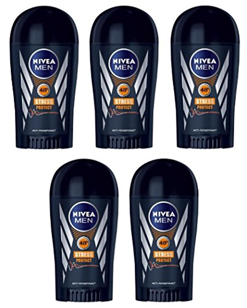 畝間参照ストレスの多い(Pack of 5) Nivea Stress Protect Anti-perspirant Deodorant Solid Stick for Men 5x40ml - (5パック) ニベア応力プロテクト制汗剤デオドラントスティック...