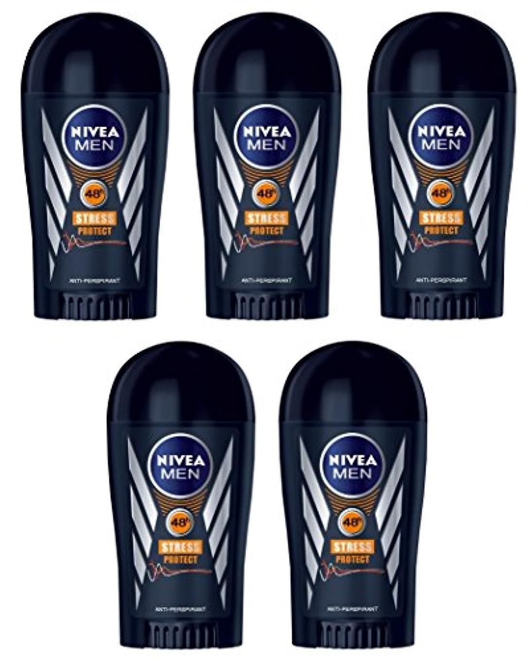 アルファベット皮肉な牧草地(Pack of 5) Nivea Stress Protect Anti-perspirant Deodorant Solid Stick for Men 5x40ml - (5パック) ニベア応力プロテクト制汗剤デオドラントスティック男性用5x40ml