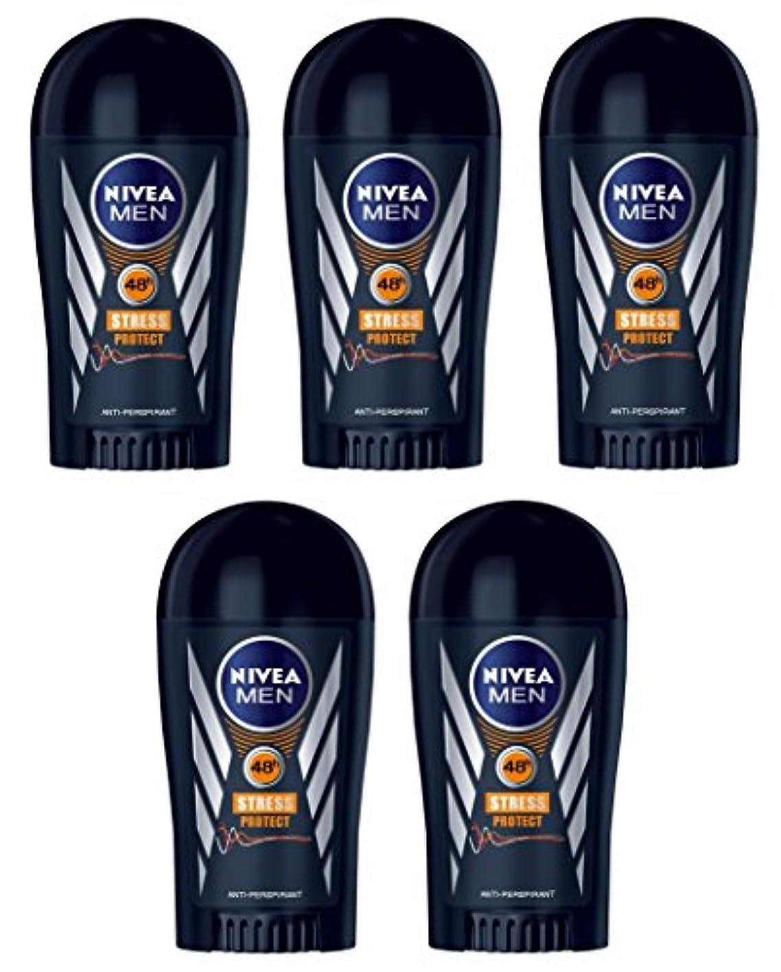 メディアキッチン辛い(Pack of 5) Nivea Stress Protect Anti-perspirant Deodorant Solid Stick for Men 5x40ml - (5パック) ニベア応力プロテクト制汗剤デオドラントスティック...