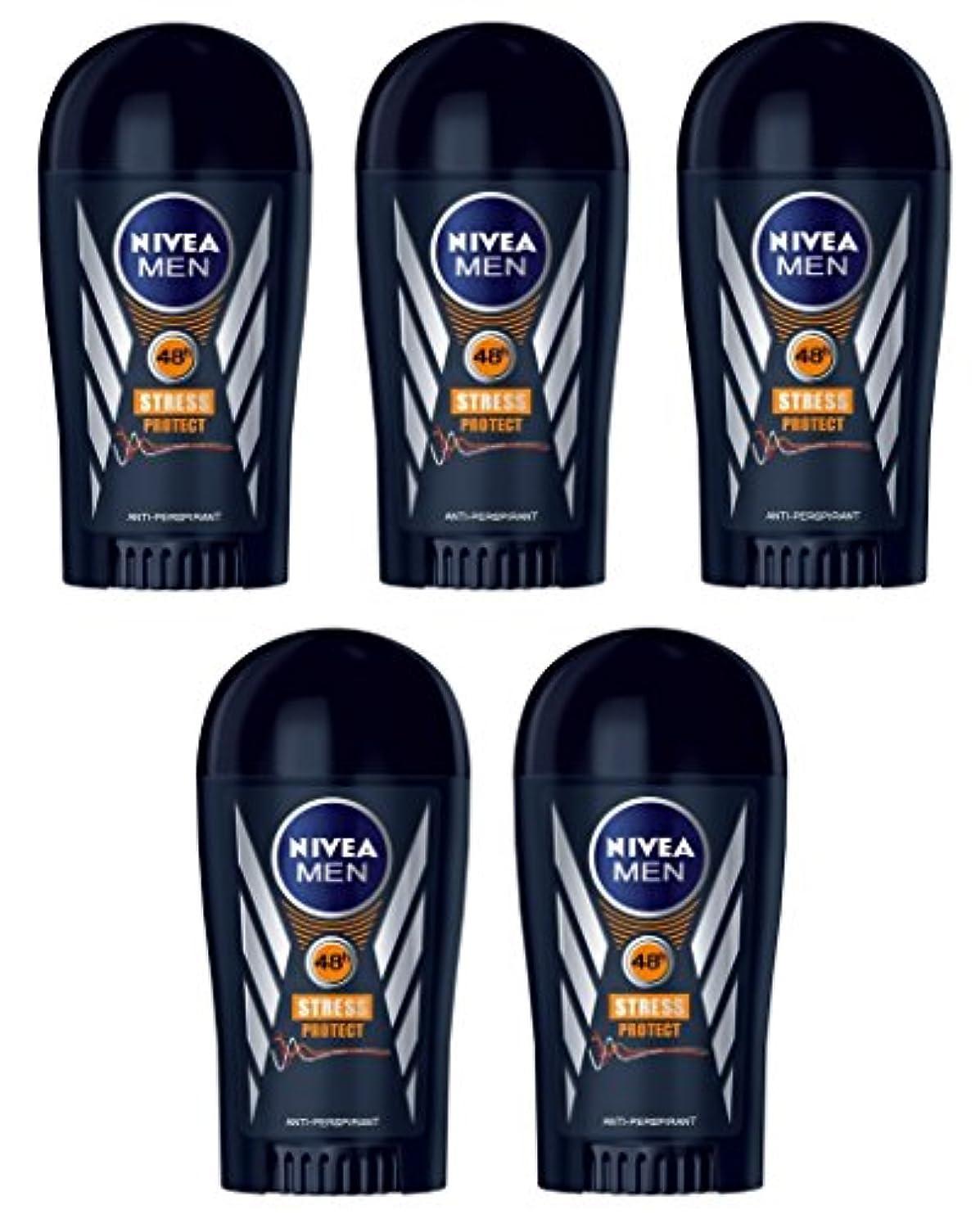 通常サスペンション通路(Pack of 5) Nivea Stress Protect Anti-perspirant Deodorant Solid Stick for Men 5x40ml - (5パック) ニベア応力プロテクト制汗剤デオドラントスティック...
