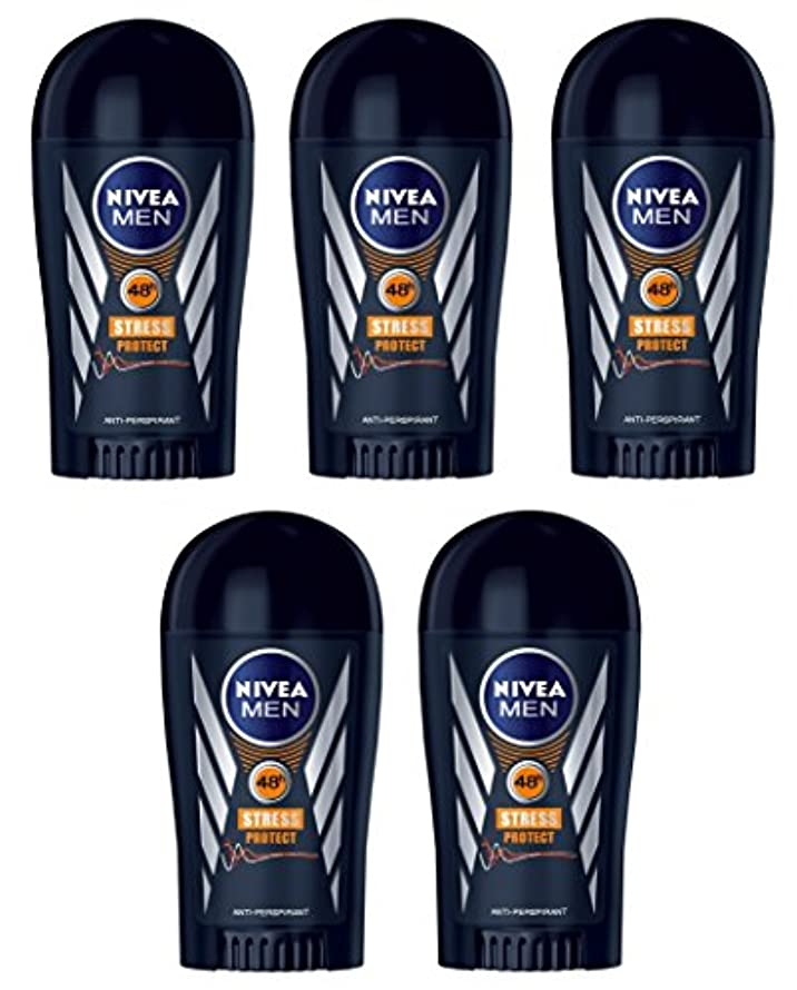 飼料誰真似る(Pack of 5) Nivea Stress Protect Anti-perspirant Deodorant Solid Stick for Men 5x40ml - (5パック) ニベア応力プロテクト制汗剤デオドラントスティック...