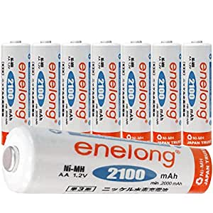[enelong] エネロング 単3形 充電式電池× 8本セット 容量2100mAh