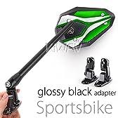 MAGAZI マガジ バイパーII バイクミラー カウリングミラー フェアリングミラー 緑色  フェアリング取付 光沢黒のアダプター  一対