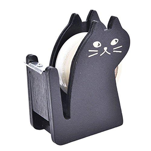 QBYLong テープディスペンサー テープカッター台 カルカット 可愛い 猫の顔 切れ味良い 木製 飾り物 (ブ...