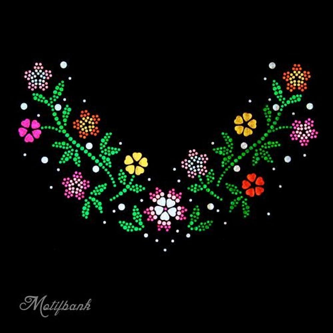 強制的モノグラフ時系列【スパングル】 スパンコールモチーフ (トレンドの お花のモチーフ Vの字) アイロン接着 XLサイズ