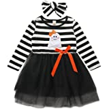 Ritatte Toddler Baby Christmas Outfits Kids Girls Ghost Print Long Sleeve Dress Striped Tutu Skirts with Headband