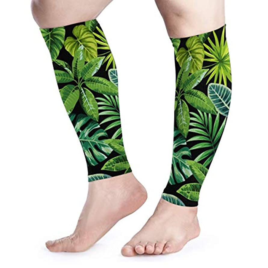 SUNJAN ふくらはぎサポーター熱帯の葉 薄手 通気 吸汗速乾 着圧 むくみ防止 高弾力 UV対策 スポーツ用 男女兼用