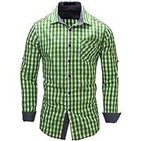 Chouyatou Men's Premium Long Sleeve Tailoring Button Front Cotton Plaid Casual Shirt