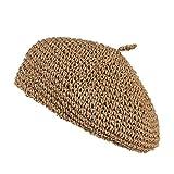 [Y-BOA] サマー ベレー帽 キャスケット ハンチング帽 麦わら帽子 画家帽 かぎ編み 涼しい 風通し 蒸れない UVカット レディース おしゃれ お出かけ カーキ