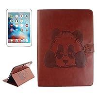 Qin Fanglin iPad Pro 9.7インチケース、iPad Pro 9.7インチ用エンボス加工パンダパターン水平フリップレザーケースホルダー&カードスロット&財布付き (色 : コーヒー)