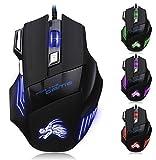 ドラゴンX8 マウス 有線 5DPIモード5500DPI 高精度 7ボタン DPI調整可能  コンパクト 5色LEDライト ゲーミングマウス 優れた性能 眩しさの効果 長持ち ブラック
