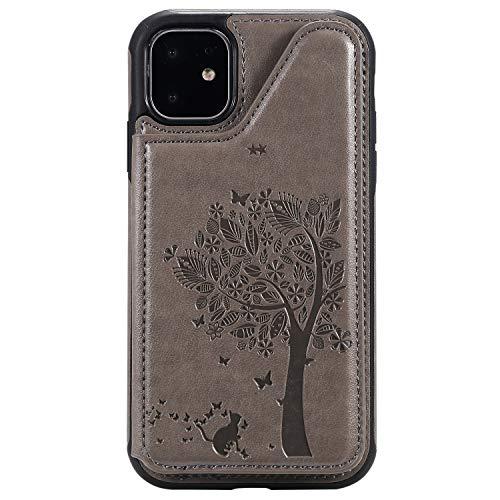 ZeeboxR iPhone 11 6.1 ケース, 高級感 人気PU レザーバ ックケース, ツリーエンボス加工 落下防止 衝撃吸収 おしゃれ 人気スマホケース, iPhone 11 6.1 用, グレー