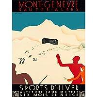 TRAVEL WINTER SPORT MONT GENEVRE HIGH ALPS SKI SNOW CHALET SWISS POSTER 30X40 CM 12X16 IN 旅行冬スポーツアルプス雪スイスポスター