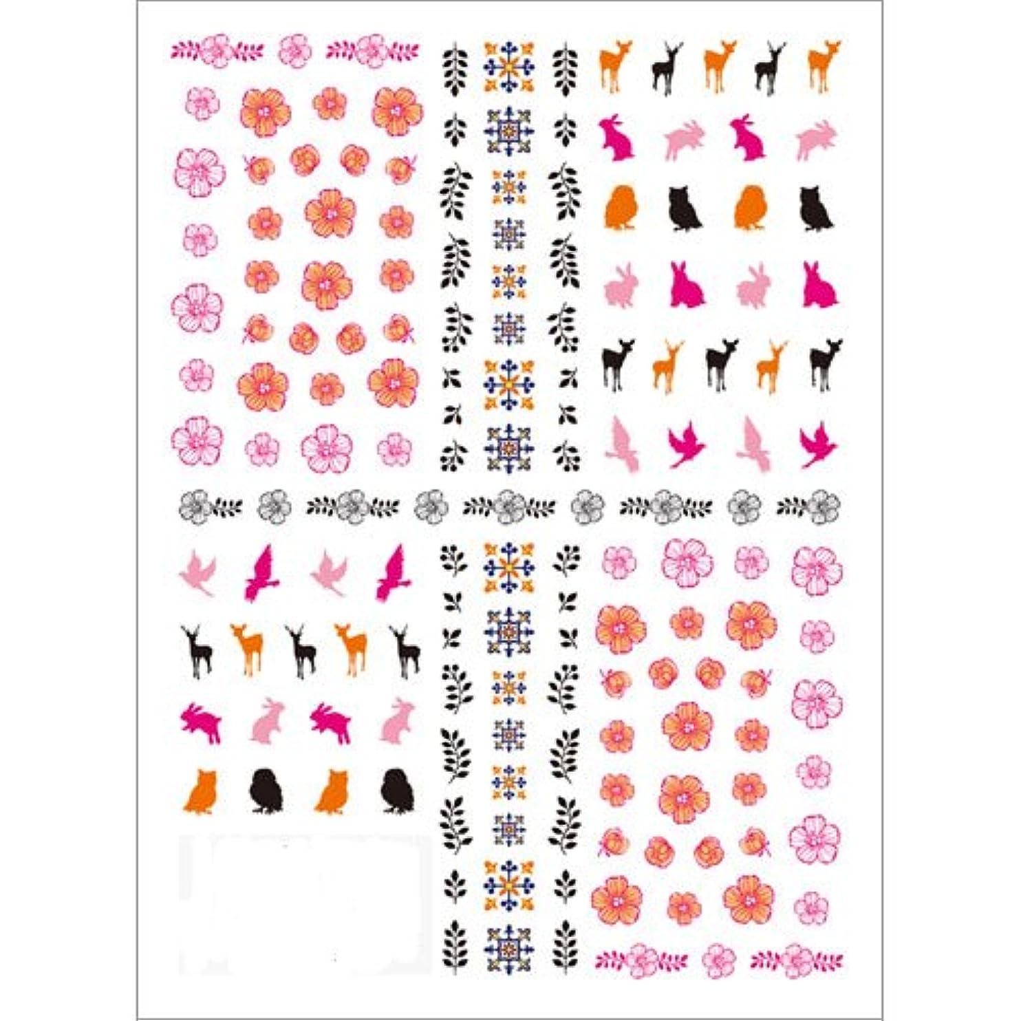 読みやすさバインドそしてツメキラ(TSUMEKIRA) ネイル用シール 北欧柄 ピンク NN-HKO-101