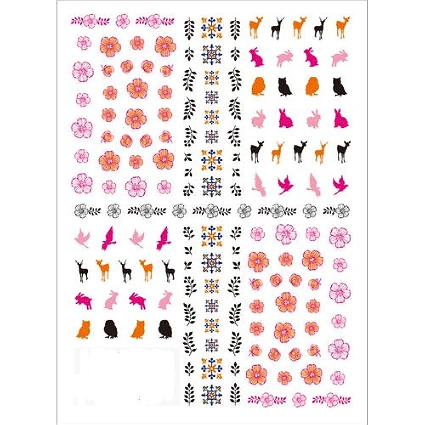 魅力彼らの申込みツメキラ(TSUMEKIRA) ネイル用シール 北欧柄 ピンク NN-HKO-101