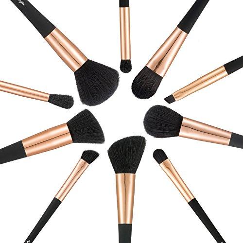 NexGadget メイクブラシ 10本セット プロメイクアップブラシ 高級ナイロン繊維毛 化粧筆 多機能ブラシお肌に柔らかい 品質保証 アイライナーブラシ アイブロウブラシ アイシャドーブラシ リップブラシ 収納 コスメ 化粧ポーチ付き (ブラック)
