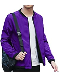 maweisong メンズ?カジュアル長袖ジッパーの上のポケット付きジャケットコート