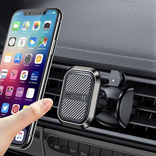 【独創6個磁石】 VANMASS 車載ホルダー マグネット スマホホルダー 車 スマホスタンド 携帯 スマートフォン 360度回転 落下防止 片手脱着 超安定 取り付け簡単 iphone多機種対応(エアコン式)