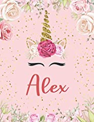 Alex: Primary Composition Notebook Handwriting Practice Paper | Personalized Flowers Unicorn with Blank Writin