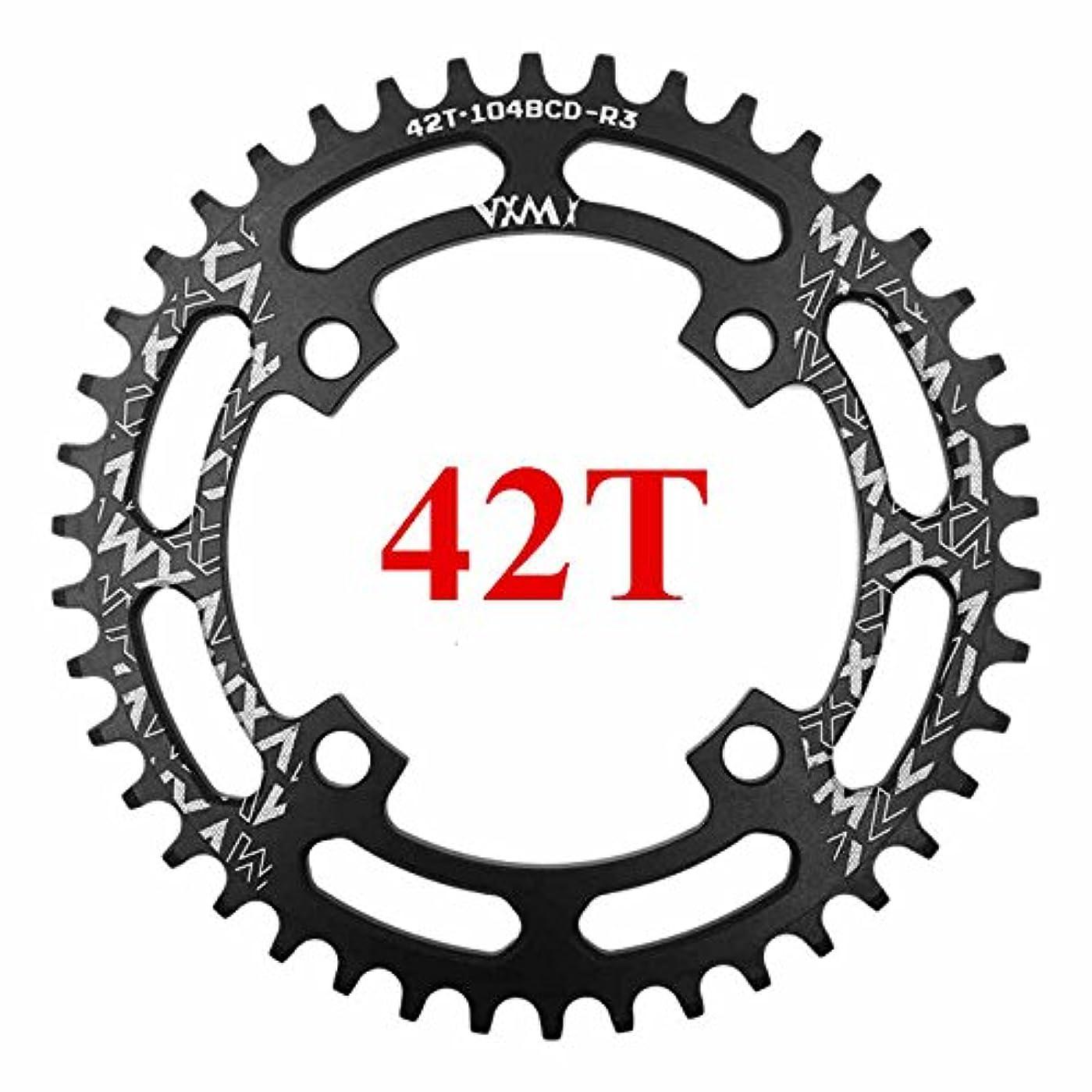 子羊金曜日発行Propenary - 自転車104BCDクランクオーバルラウンド30T 32T 34T 36T 38T 40T 42T 44T 46T 48T 50T 52TチェーンホイールXT狭い広い自転車チェーンリング[ラウンド42Tブラック]