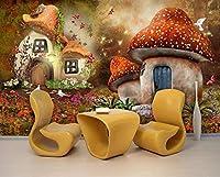 Minyose カスタマイズされた子供の家の壁画の3D壁紙おとぎ話の世界キノコの家のリビングルームのテレビの背景3Dの壁紙-450cmx300cm