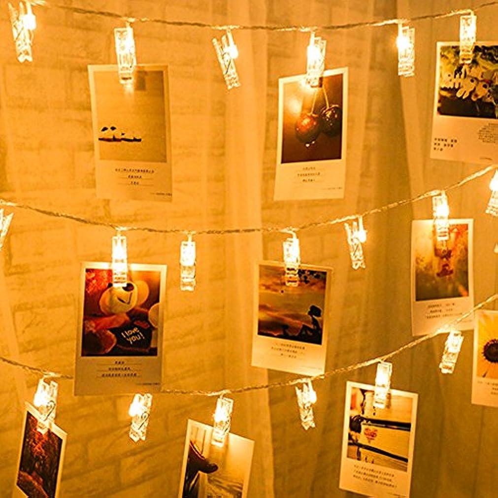 成り立つズーム自己尊重ストリングライト LEDイルミネーションライト、SIMPLE DO 20LED 写真クリップ DIY 壁飾り ソーラー充電式 間接照明 クリスマス/新年/結婚式/誕生日/パーティー飾り 雰囲気ライト(ウォームホワイト)