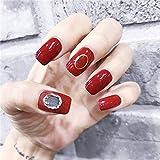 XUTXZKA 花嫁の明るい赤の純粋な色の装飾の偽の釘の女性完全な釘の先端の釘