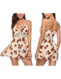 RaiFu ジャンプスーツ ショーツ ディープVスリング ファッション 印刷 ロンパーショーツ 女性 セクシー 夏
