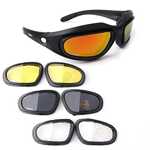 KEMIMOTO ゴーグル 自転車 バイク用ゴーグル スポーツ用 レンズ4枚 サングラス 偏光レンズ 抗紫外線 防塵 目の保護 (タイプ3)