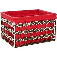 WTL かご?バスケット 中空赤いダイヤモンド形の国立風のコレクションバスケットバスケットバスケット化粧品のデブリスデスクトップストレージボックス (サイズ さいず : 大 だい)