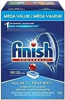食器洗い機用洗剤の仕上げ、オールインワンパワーボール、フレッシュ、メガバリューパック、110錠、ファストアクションクリーン
