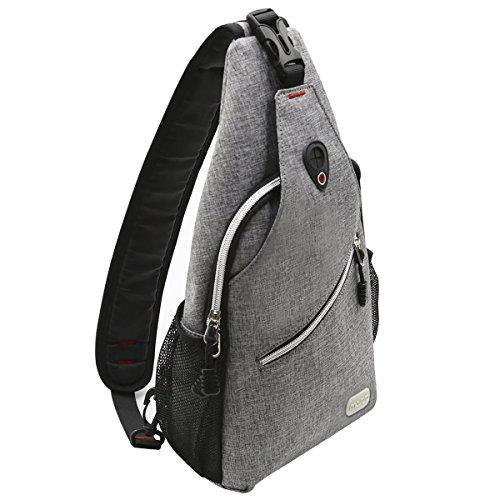 Mosiso ボディバッグ 斜めがけ ワンショルダーバッグ ポリエステル 軽量 防水 左右肩掛け可能 iPad Pro10.5収納可 イヤホン穴付き 胸バッグ メンズ レディース 登山 旅行 スポーツ 日常(グレー)