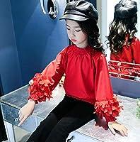2018年女の子に向け子供服パフスリープTシャツ長袖可愛い2色110-160