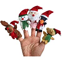 gqmart Finger Puppetsおもちゃ5pcクリスマスサンタクロースと友達Story Telling Finger Puppets Toy