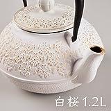 「植物系・白桜・1.2L」 鉄分補給 南部鉄器 カラーポット 鉄瓶 ih