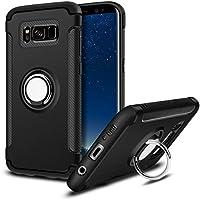 MaiJin サムスン Samsung Galaxy S8 リング付き ケース 耐衝撃 360度回転可能 角度調整 スタンド スマホカバー (ブラック)