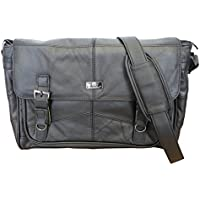 Roamlite Men's Leather Messenger Shoulder Bag - Cross Body Business Attache Case - Soft Genuine Hide - Lightweight Soft Briefcase for Work College Or Uni - Hand Luggage Size 38X28X13Cm Rl753