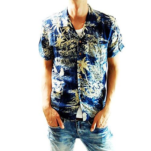 (フリースタイル)Freestyle レーヨン グラフィック 半袖 メンズ アロハ シャツ 9772 ネイビー4 M