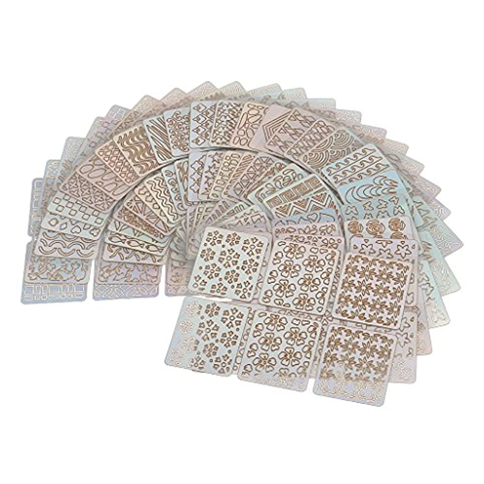 余裕があるレキシコンピックPerfk 24個 ネイルアート チップ テープ ガイド ステンシル 中空 ステッカー マニキュア DIY ツール おしゃれ