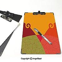 クリップボード 用箋挟 クロス貼 A4 短辺とじ 渦巻きと渦の抽象的な幾何学的デザイン抽象芸術スタイルヴィンテージカラーパレット装飾的 フォルダーボードフォルダーライティングボード (2個)多色