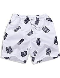マルチサイズ 白い ソフトビーチのパンツ メンズ夏のパンツ 防水 速乾性 (サイズ : XL)