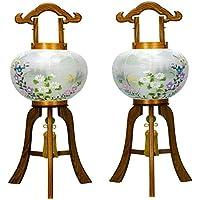 盆提灯 10号 対仕様(左右2台1組) 置き型 雅木目 絹二重 高さ70cm 電気コード式 日本製 行灯 盆提灯 八女提灯