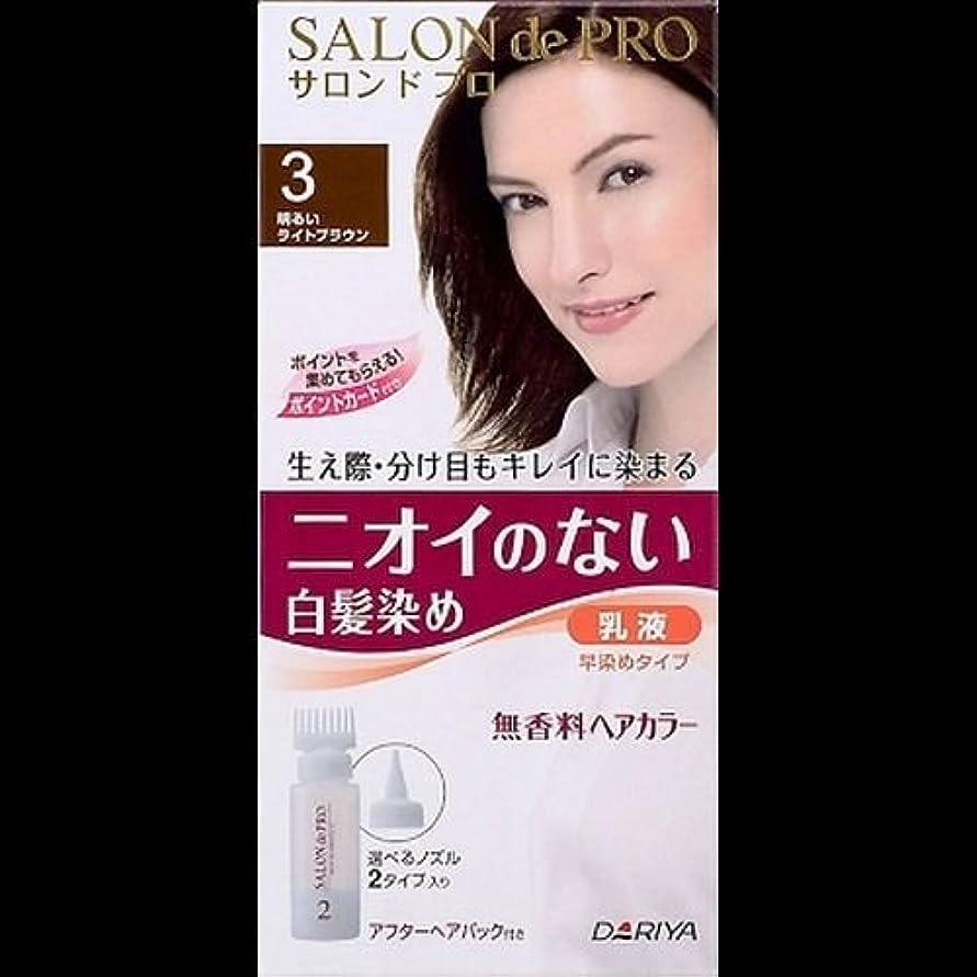 ビュッフェハッピーいっぱいサロンドプロ 無香料ヘアカラー 早染め乳液3 (明るいライトブラウン) ×2セット
