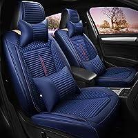 KBZW カーシートカバーセットレザー、フロント&リア5席ユニバーサルカーシートクッション、ヘッドレスト&ランバーピロー自動車アクセサリーインテリア (Color : Blue)