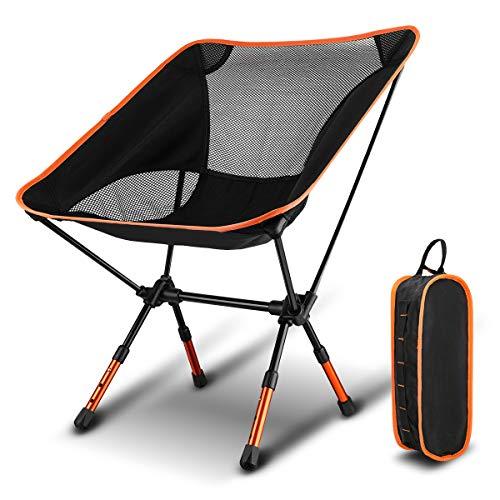 折りたたみ椅子 CAMTOA コンパクトチェアー 高さ調節可能 3段階 背もたれ アウトドアチェア ...