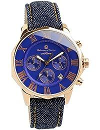 [サルバトーレマーラ] 腕時計 ウォッチ クロノグラフ 10気圧防水 ビジネス フォーマル デニムレザー使用 メンズ
