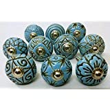 Antique Ceramic Door Knobs Drawer Knobs Cabinet Knobs and Pulls - Hand Painted Furniture Home Decor Hardware Ceramic Pulls Se
